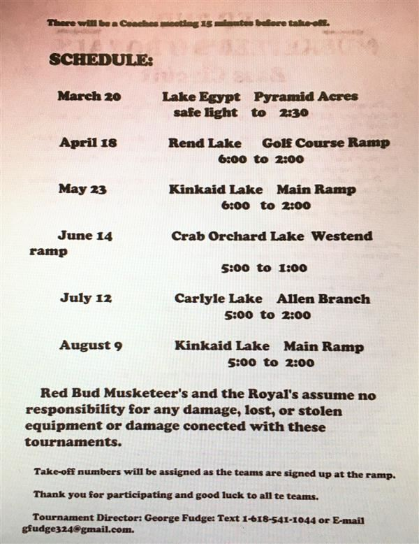 Red Bud Musketeer's & Royal's Tournament Schedule 2020
